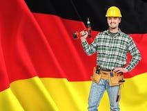 Duitse vlag en arbeider Stock Afbeelding