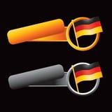 Duitse vlag op overgehelde oranje en grijze banners Stock Afbeeldingen