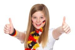 Duitse voetbalventilator met omhoog duimen Royalty-vrije Stock Afbeeldingen