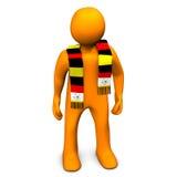 Duitse voetbalventilator met sjaal Stock Foto