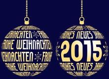 Duitse vrolijke Kerstmis en gelukkig nieuw jaar Stock Afbeelding