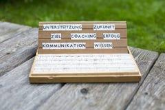 Duitse woorden: Het trainen Erfolg Ziel Stock Foto