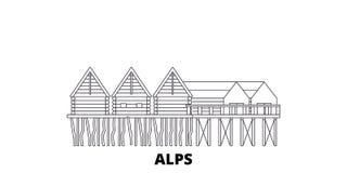 Duitsland, Alpen, Voorhistorische van de de lijnreis van Stapelwoningen de horizonreeks Duitsland, Alpen, het Voorhistorische ove stock illustratie