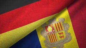 Duitsland en Andorra twee vlaggen textieldoek, stoffentextuur stock illustratie