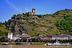 Duitsland. Kasteel Gutenfels op Rijn. Stock Afbeelding