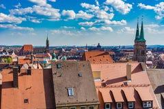 Duitsland Nuremberg, cityscape van stadscentrum royalty-vrije stock afbeeldingen