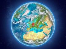Duitsland op aarde in ruimte Royalty-vrije Stock Afbeeldingen