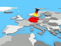 Duitsland speldde aan kaart van Europa Royalty-vrije Stock Foto