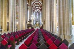 Duitsland, Thuringia, Muhlhausen, Mening van Kerk van Onze Dame Stock Foto