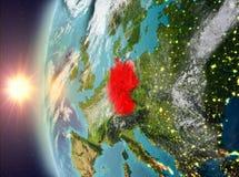 Duitsland tijdens zonsondergang van ruimte Royalty-vrije Stock Afbeeldingen
