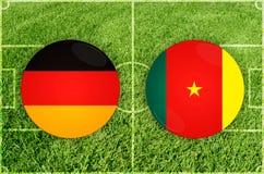 Duitsland versus de voetbalwedstrijd van Kameroen Stock Fotografie