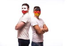 Duitsland versus Polen vóór spel op witte achtergrond Stock Afbeelding