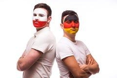 Duitsland versus Polen vóór spel op witte achtergrond Royalty-vrije Stock Foto