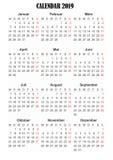 Duitstalige de kalender van 2019 royalty-vrije stock afbeelding