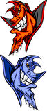Duivel/de Blauwe VectorEmblemen van de Mascotte van de Demon Royalty-vrije Stock Foto's