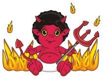 Duivel en velen brand rond royalty-vrije illustratie