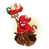 Duivel met Heet Chili Pepper Cartoon Stock Fotografie