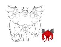Duivels kleurend boek Rood demon met vleugels en hoornen Helluva ter vector illustratie