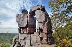Duivelsdeuropening bij van het de Duivelsmeer van Wisconsin het Park van de Staat royalty-vrije stock foto's