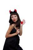 Duivelse vrouw met hoornen en stoffenhart Stock Afbeeldingen
