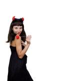 Duivelse vrouw met hoornen en stoffenhart Royalty-vrije Stock Foto's