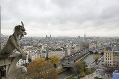 Duivelsstandbeeld die op Parijs letten Stock Foto's