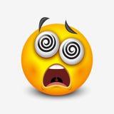 Duizelig gezicht emoticon, emoji - vectorillustratie Stock Foto