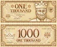 Duizend abstract bankbiljet Royalty-vrije Stock Afbeeldingen