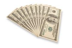Duizend dollarsstapel (die met schaduwen wordt geïsoleerdi) Stock Afbeeldingen