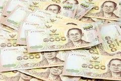 Duizend rekening van Thaise die munt, van duizend rekening wordt uitgespreid Versiejaar 2015 Stock Foto's