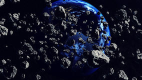 Duizenden asteroïden die aan de Aardeplaneet sluiten Stock Foto's