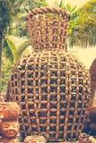Duizenden van Gebakken Clay Pots als muur om te verfraaien de tuin bij Royalty-vrije Stock Fotografie