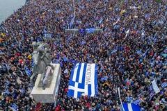 Duizenden van mensenprotest tegen om het even welk Grieks compromis op royalty-vrije stock foto's