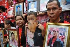 Duizenden van Rood Overhemdenprotest in Bangkok Royalty-vrije Stock Foto