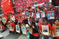 Duizenden van Rood Overhemdenprotest in Bangkok Royalty-vrije Stock Fotografie