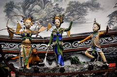 Dujiangyan, China: Carved Bridge Figures Royalty Free Stock Image