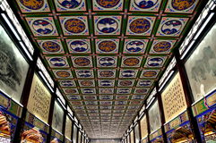 Dujiangyan, China: Hand-painted Ceiling of Nan Qiao Covered Bridge Royalty Free Stock Photo