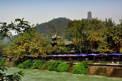 Dujiangyan, China: Min River Tea Houses Royalty Free Stock Photography