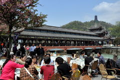 Dujiangyan, China: Nan Qiao Bridge & Diners Royalty Free Stock Photo