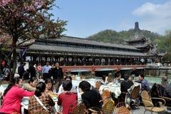 Dujiangyan, China: Nan Qiao Bridge & Diners Royalty Free Stock Photo