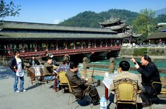 Dujiangyan, China: Outdoor Tea House & Bridge Stock Photography