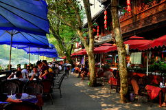 Dujiangyan, China: Riverside Cafes and Restaurants Stock Image
