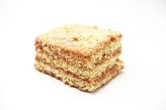 Dukan bantar Bantar nytt läckert för morotkaka kakan på Dukan bantar på en vit bakgrund Royaltyfri Bild
