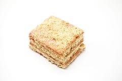 Dukan bantar Bantar nytt läckert för morotkaka kakan på Dukan bantar på en vit bakgrund Arkivbild