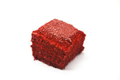 Dukan Diet. Red Velvet, fresh delicious diet cake at Dukan Diet on a white background. Stock Photo