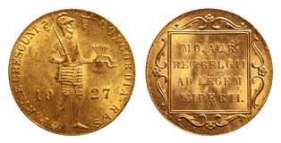 Dukat holandês 1927 do ouro de moeda fotografia de stock royalty free