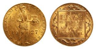 Dukat olandese 1927 dell'oro di moneta fotografia stock libera da diritti
