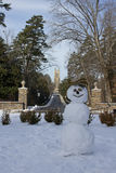 Duke Chapel with Snowman. View of the Duke Chapel with snowman Royalty Free Stock Photos