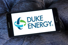Duke energy company logo. Logo of energy and home services company duke energy on samsung mobile phone a5 stock photography
