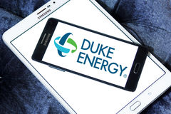 Duke energy company logo. Logo of energy and home services company duke energy on samsung mobile phone a5 on samsung tablet royalty free stock images